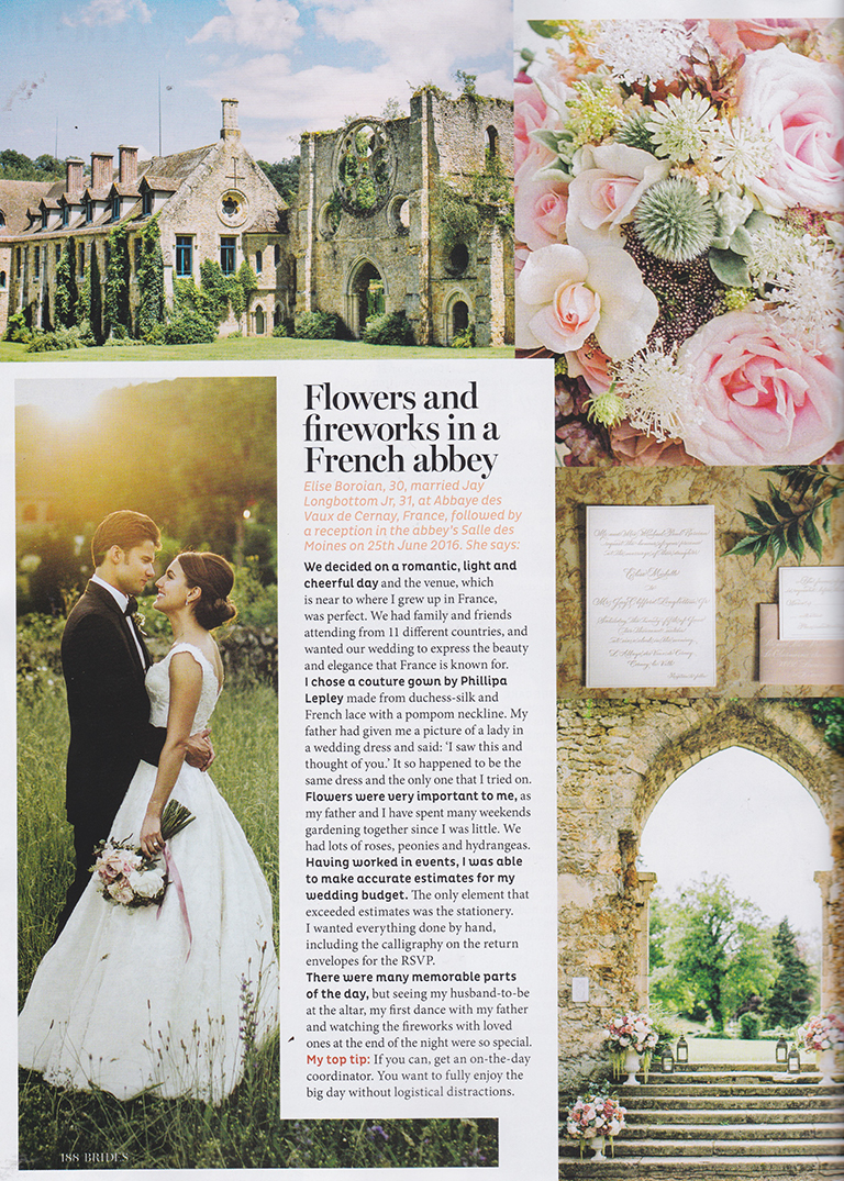 OUR BRIDE ELISE FEATURES IN BRIDES MAGAZINE