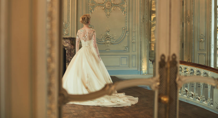 Phillipa Lepley Bespoke Floral Top With Sleeves Wedding Dress