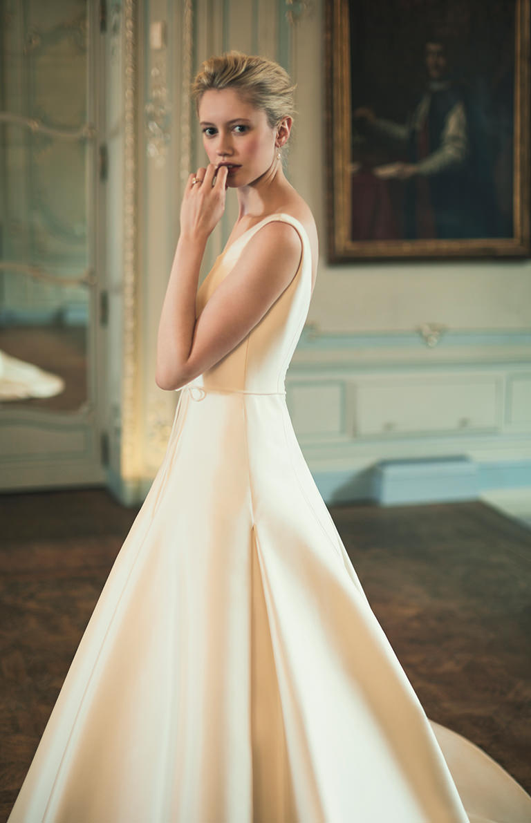 Phillipa Lepley Silk Scoop Neck Full Skirt Plain Wedding Dress