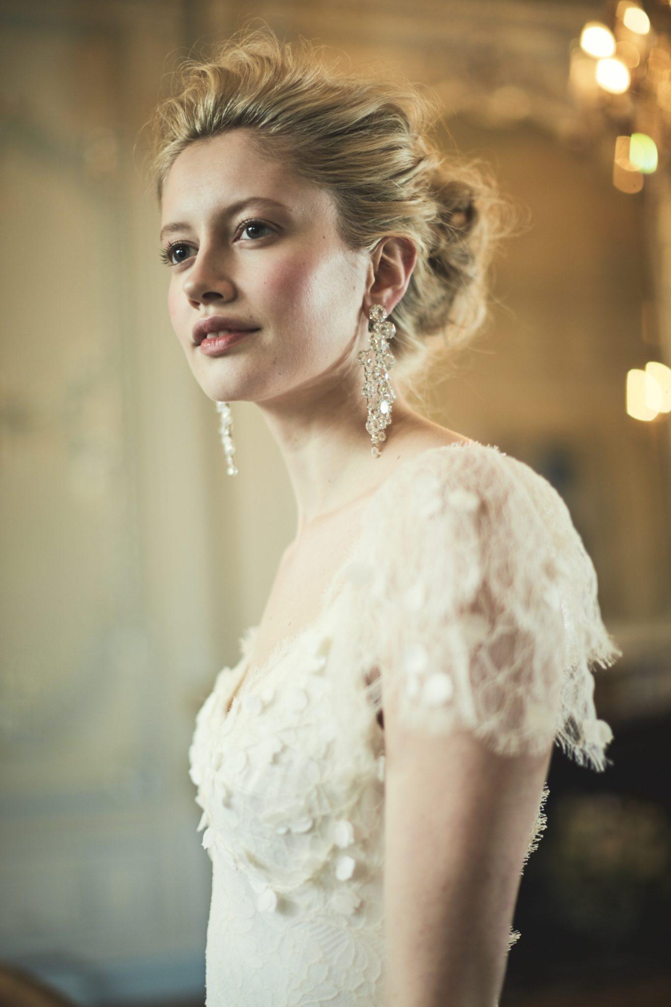 Phillipa Lepley 3D Floral petal embrodiery on lace wedding dress