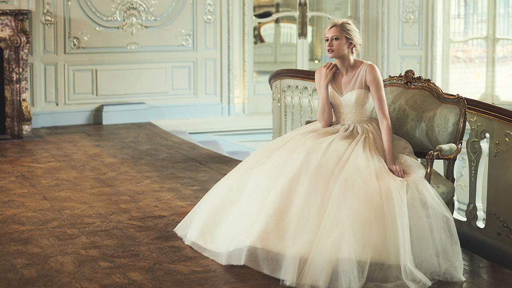Phillipa Lepley Ballgown Wedding Dress with straps and sparkle