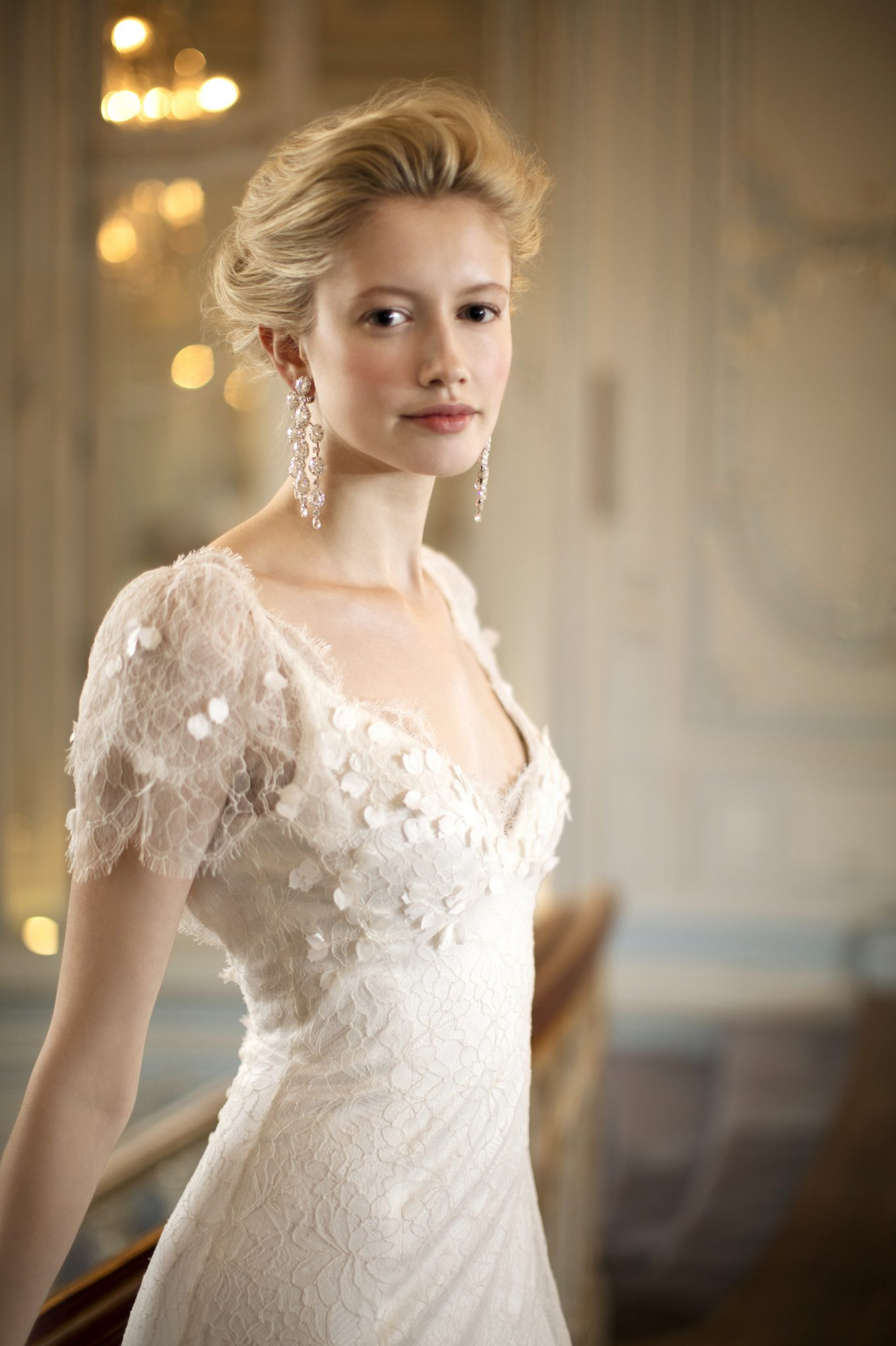 Phillipa Lepley Bepsoke Lace Wedding Dress with Floral Details