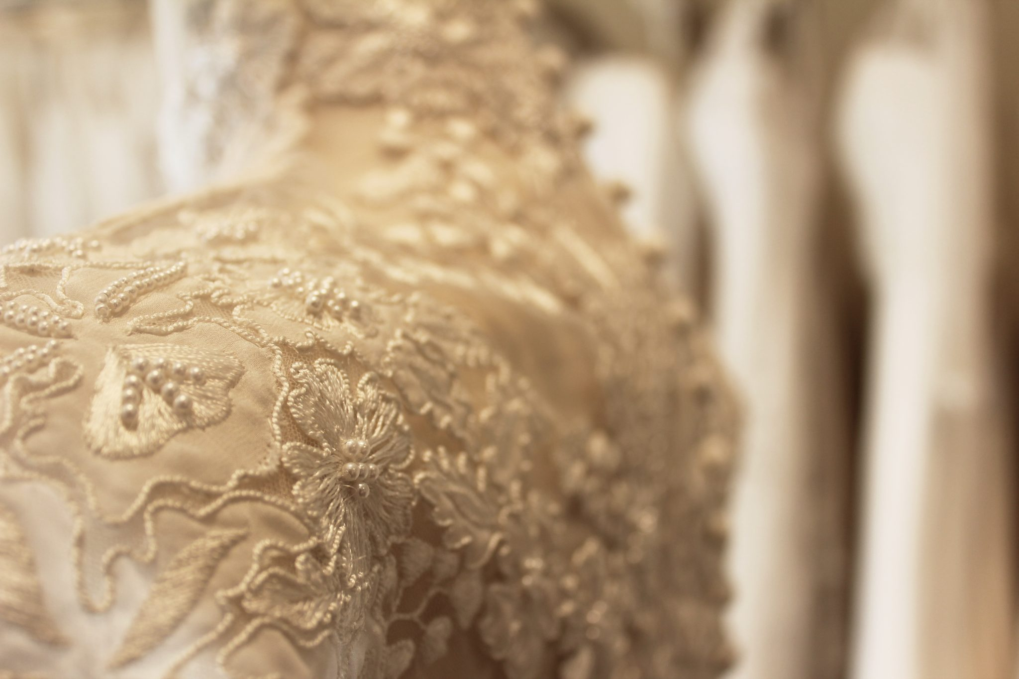 Back detailing of Phillipa Lepley embroidered wedding dress with high collar