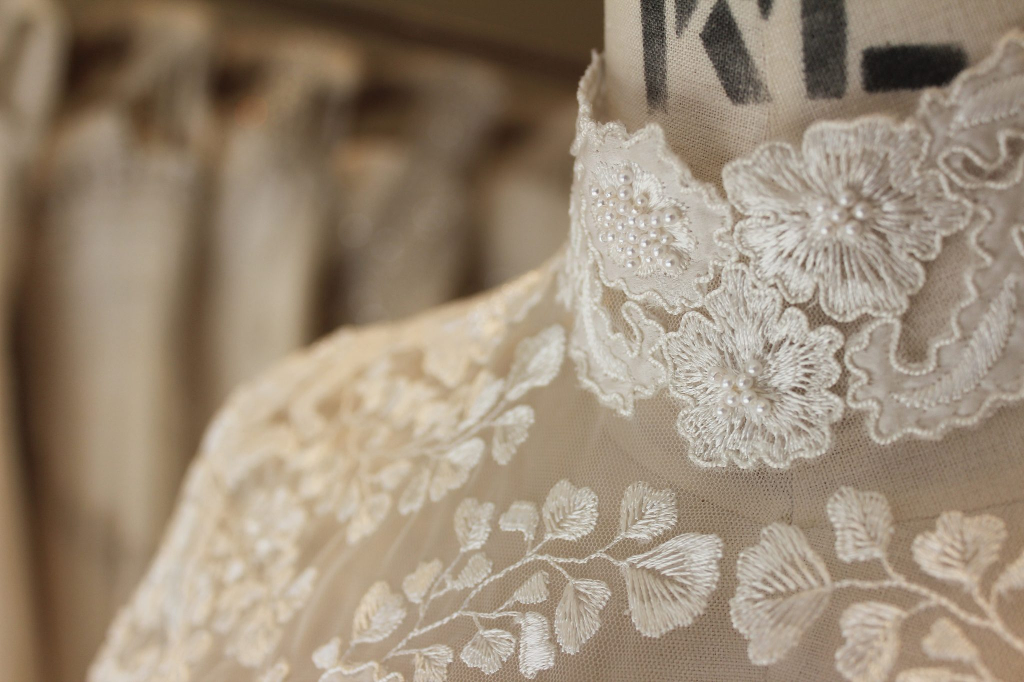 Collar detail on a Phillipa Lepley embroidered wedding dress with high collar neckline