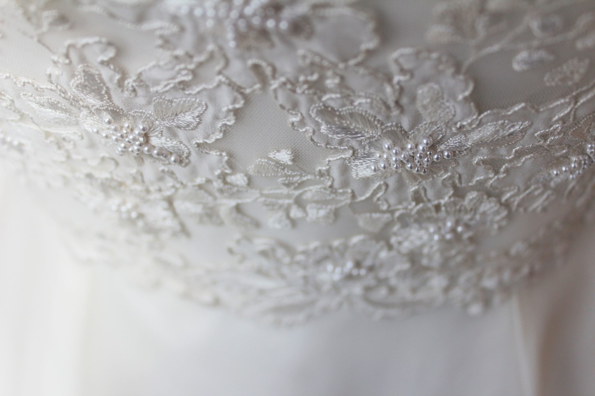 Embroidery Detail on a Phillipa Lepley Embroidered Wedding Dress with High Collar