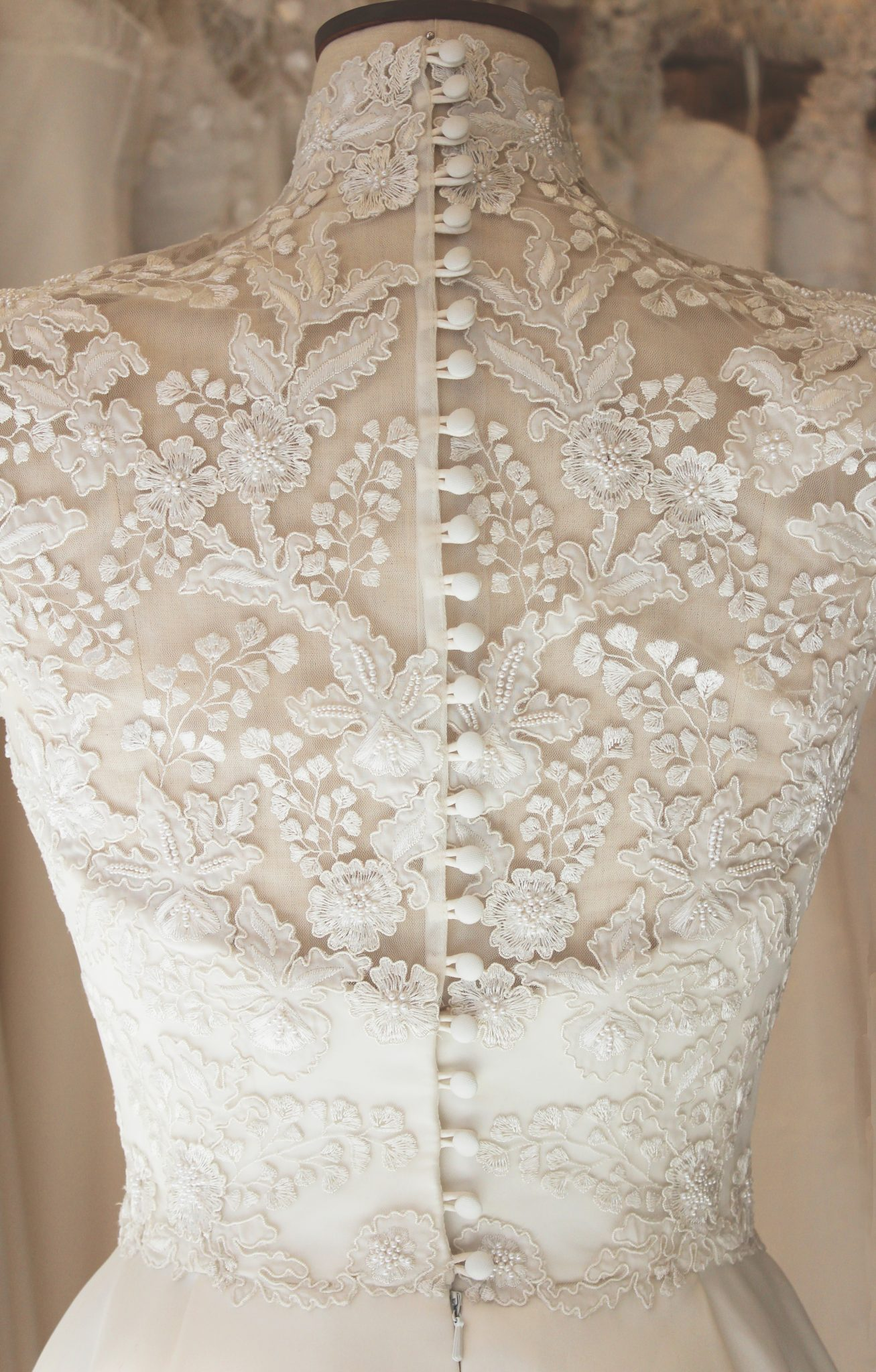 Phillipa Lepley Embroidered Wedding Dress with High Collar - Full Back View