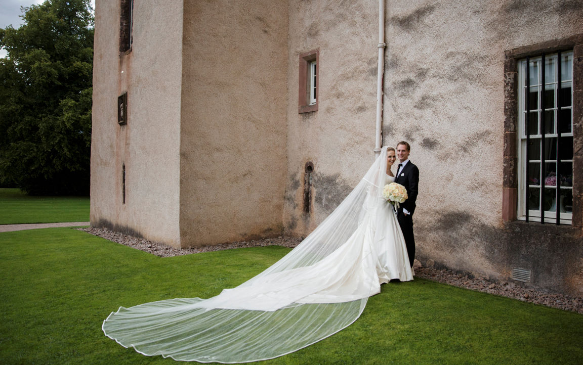 Phillipa Lepley satin wedding gown with bow