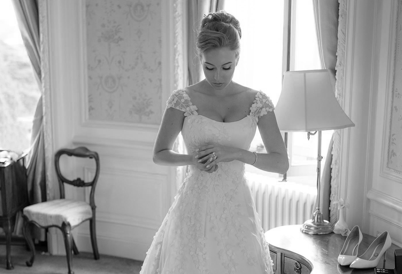 Phillipa Lepley - Lily of the Valley Wedding Dress with 3d floral appliques