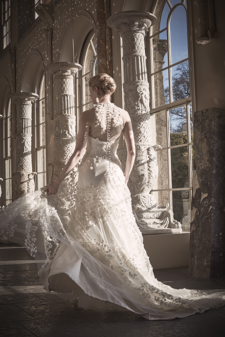 Phillipa Lepley High Neck Floral Couture Wedding Dress London UK Bespoke British Bridal Designer
