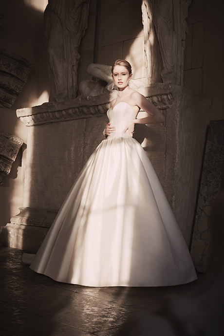 Phillipa Lepley Plain Strapless Couture Wedding Dress London UK Bespoke British Bridal Designer