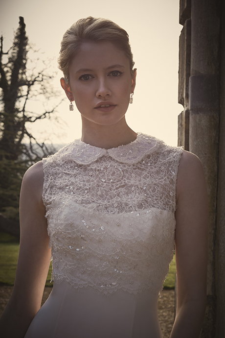 Phillipa Lepley Peter Pan Collar Couture Wedding Dress London UK Bespoke British Bridal Designer