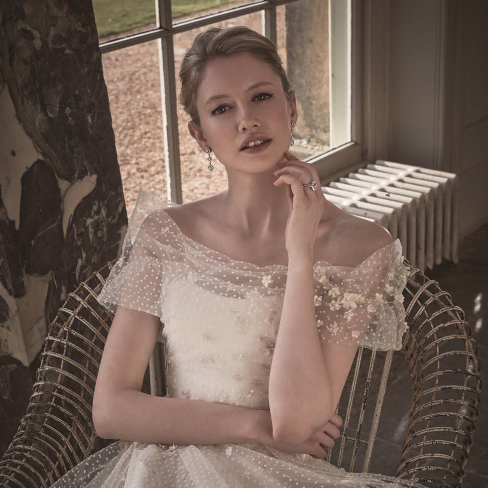 Phillipa Lepley Off the Shoulder Floral Couture Wedding Dress London UK British Wedding Dress Designer
