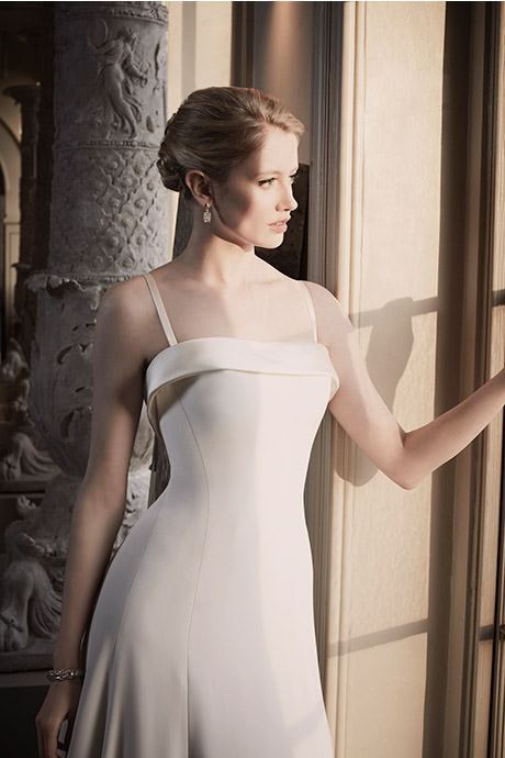 Phillipa Lepley Simple Elegant Satin Band Silk Crepe Couture Wedding Dress London UK