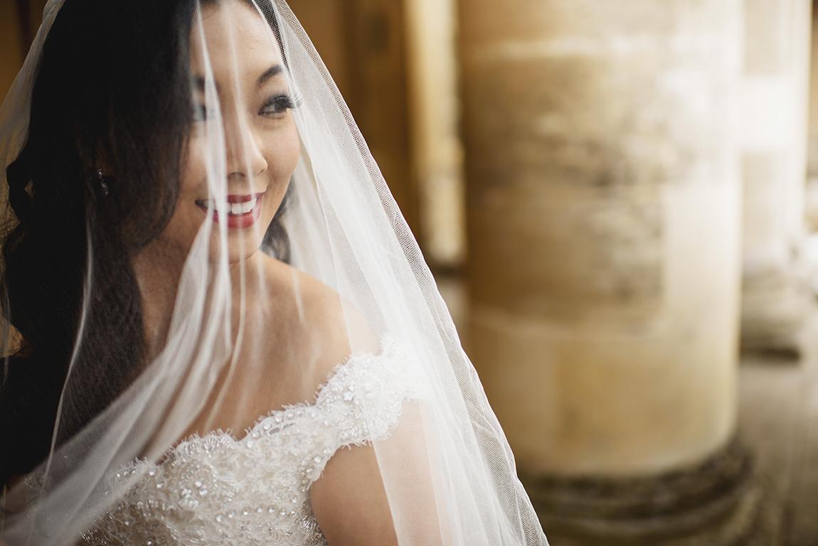 Phillipa Lepley Couture Wedding Dress London UK Beaded Bodice Tulle Straps Long Silk Veil