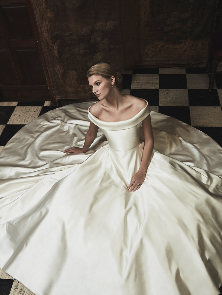 Phillipa Lepley Couture Wedding Dress Silk Satin Corseted Off The Shoulder Collar Bespoke Wedding Dress London UK