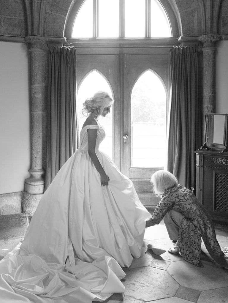 Phillipa Lepley Couture Wedding Dress and Silk Veil Corseted Bespoke Silk Satin Wedding Dress Shop London UK