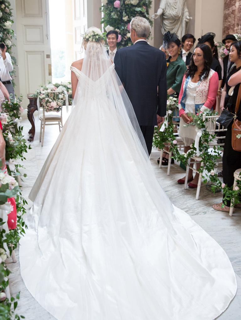 Phillipa Lepley Couture Wedding Dress and Silk Veil Corseted Bespoke Silk Satin Wedding Dress Shop London UK