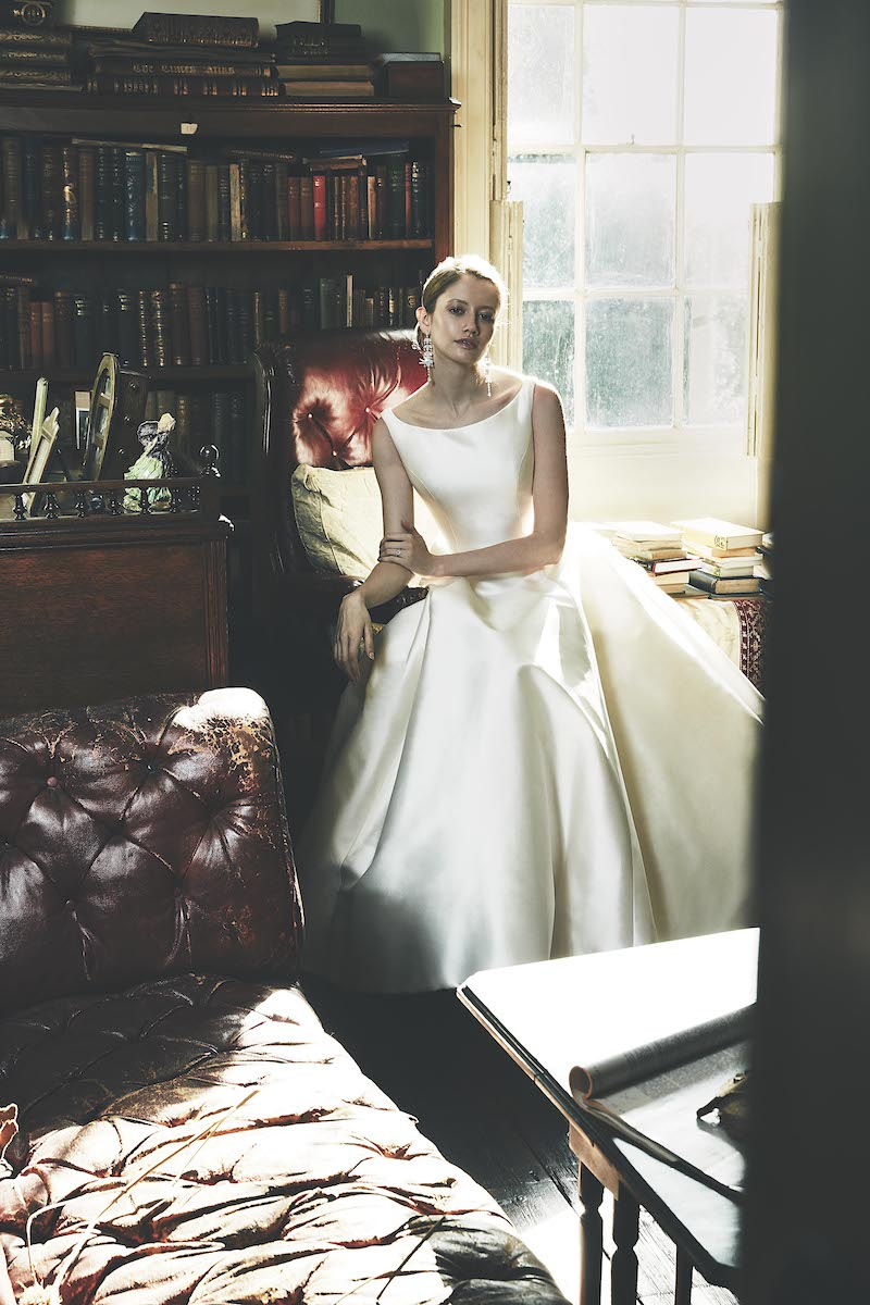 Nude Mesange Zibelene' is a beautifully clean, ivory wedding dress by London wedding dress designer Phillipa Lepley
