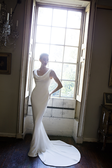 Phillipa Lepley Couture Wedding Dress London UK Designer Bespoke Couture Chausson Silk Crepe Slinky Wedding Dress Low Back Long Train Draped Front and Back Cowl Neckline 1635 460 x 490
