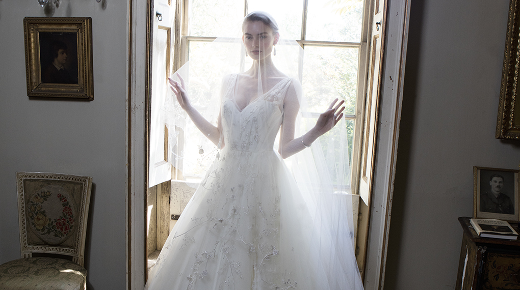 Phillipa Lepley Couture Wedding Dress London UK Designer Bespoke Couture Frothy Flowers Bespoke Floral Embroidered Tulle Wedding Dress With Corset Long Train Tulle V Straps 979 1020 X 570