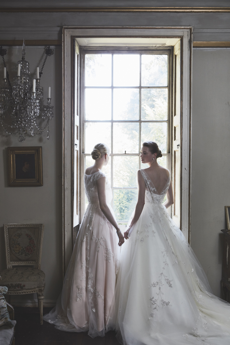 Phillipa Lepley Couture, Bespoke London Wedding Dress Designer - Couture Wedding Dress – 'Persephone Pink Honeysuckle'