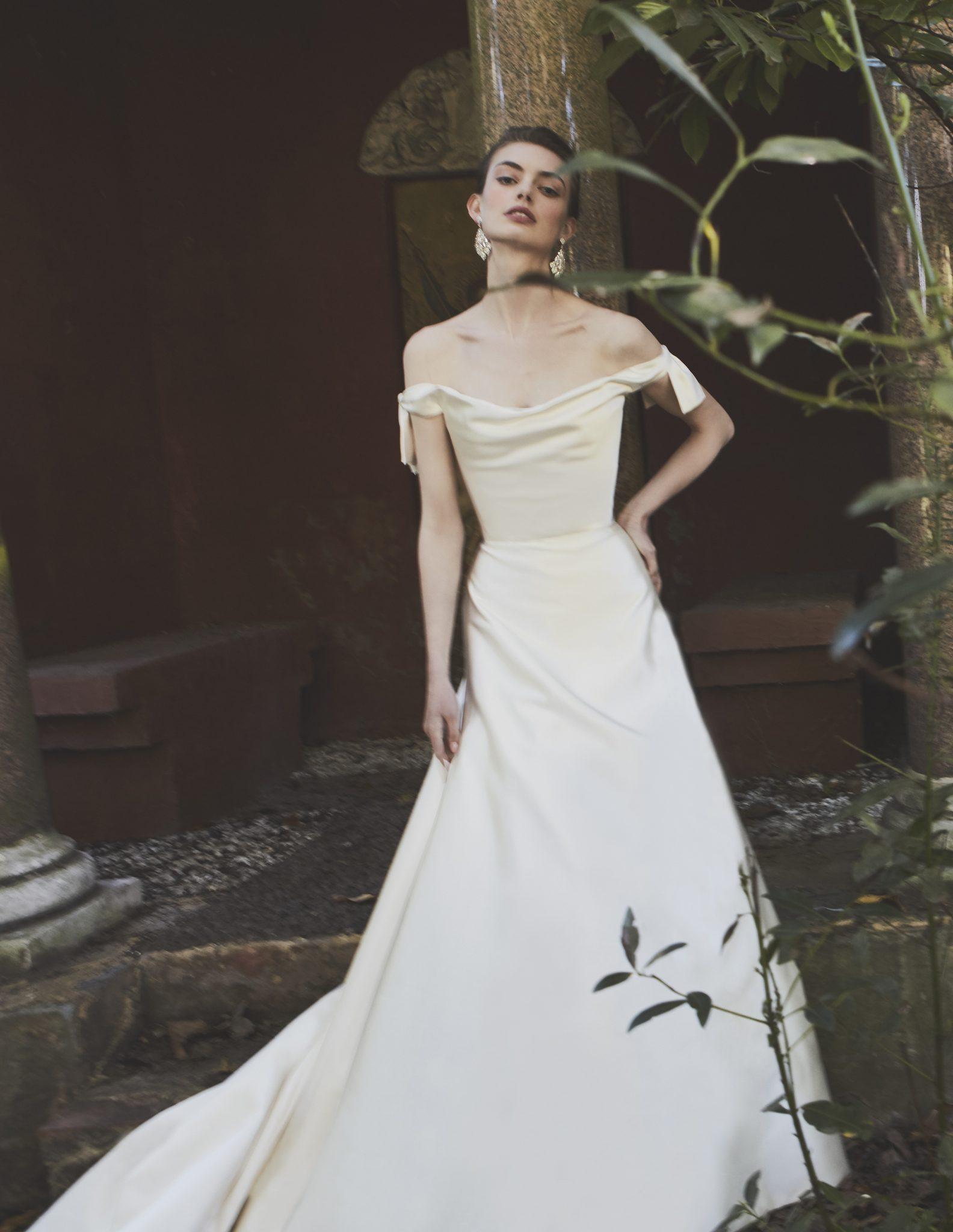 Couture Wedding Dress London Designer Phillipa Lepley - Vienna Low Shoulder Bow