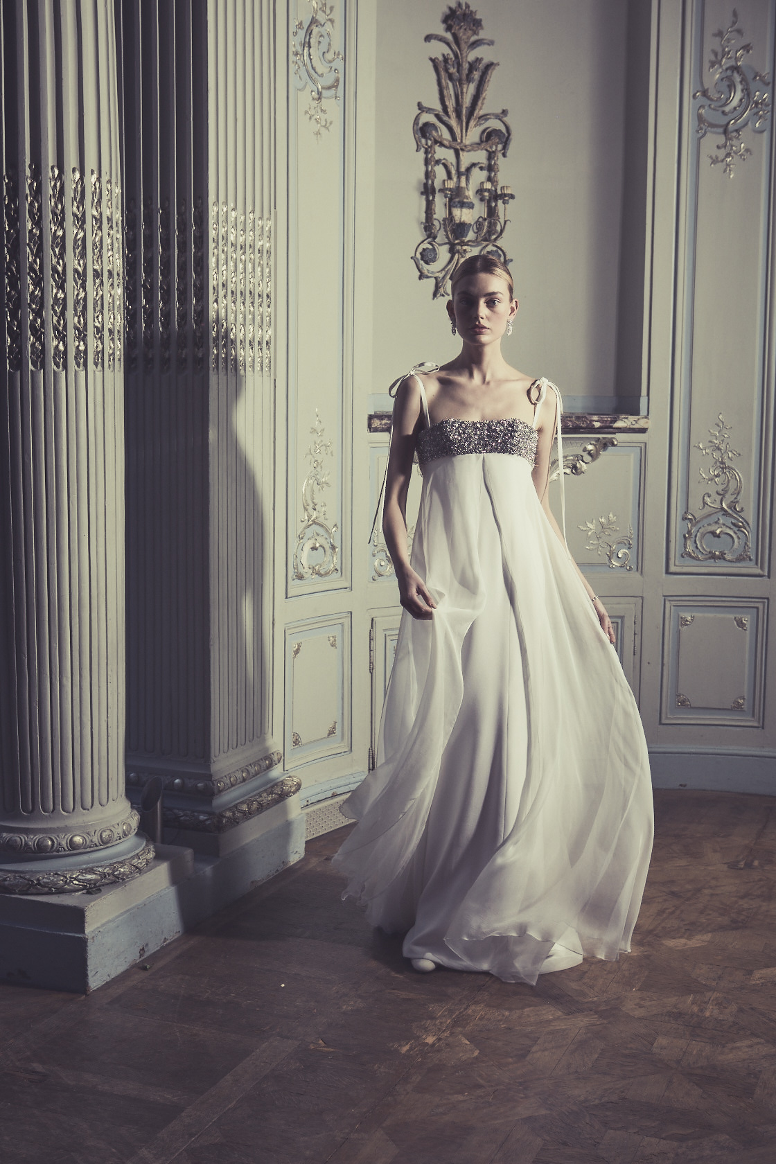 Phillipa Lepley Couture Wedding Dress London UK Designer Bespoke Couture Claudette Rocks Chiffon Empire Line Bodice Encrusted Vintage Diamante Bow Straps