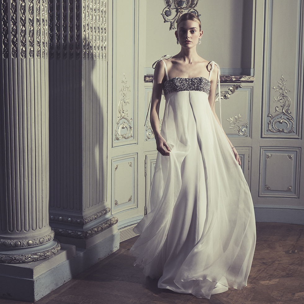 Phillipa-Lepley-Couture-Wedding-Dress-London-UK-Designer-Bespoke-Claudette-Rocks-Chiffon-Empire-Line-Bodice-Vintage-Diamantes-Bow-Straps-Gown-Corset
