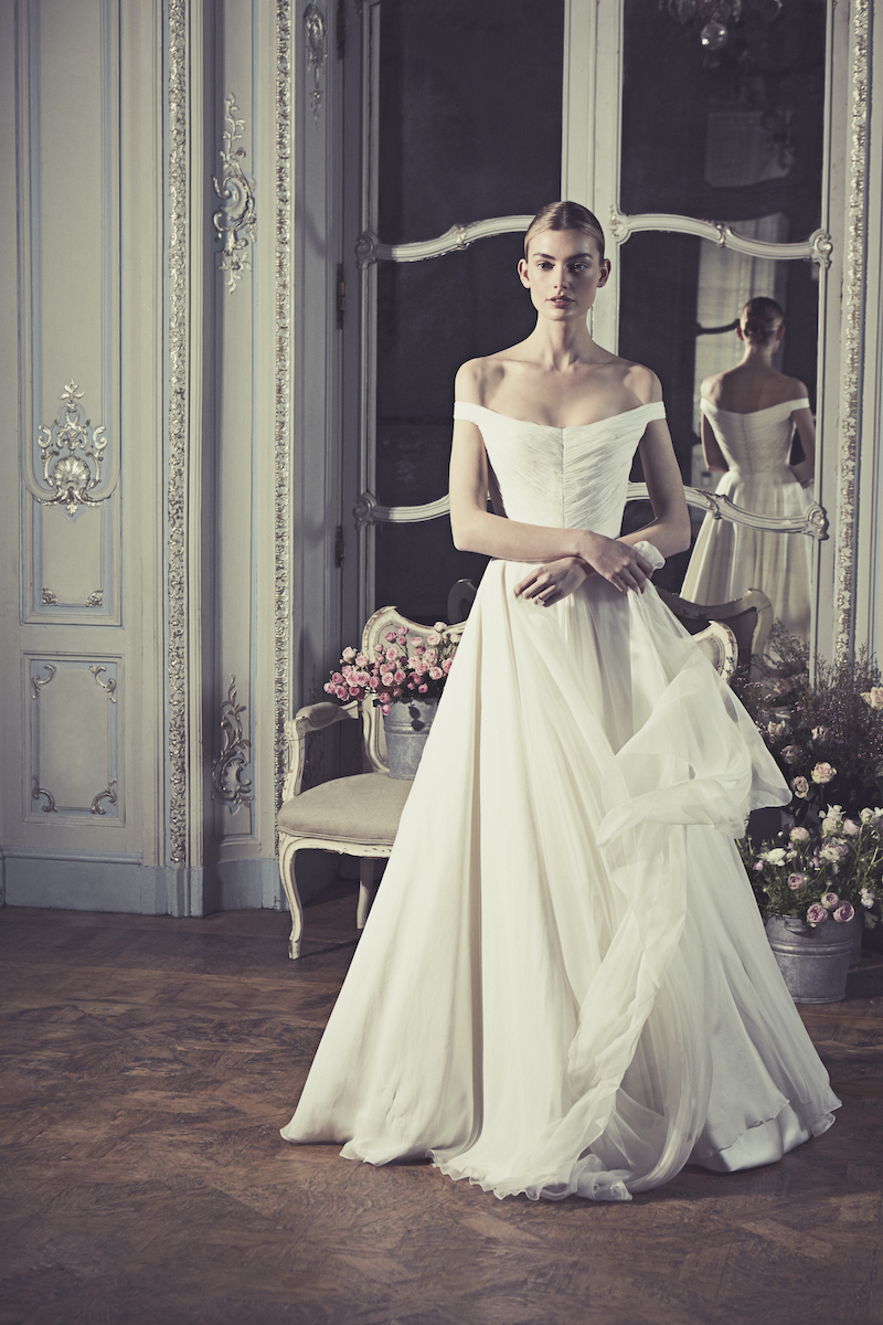 Phillipa-Lepley-Couture-Wedding-Dress-London-UK-Designer-Bespoke-Couture-Swan-Chiffon-Off-The-Shoulder-Soft-Chiffon-Ruched-Wedding-Gown-Long-Train-Corset