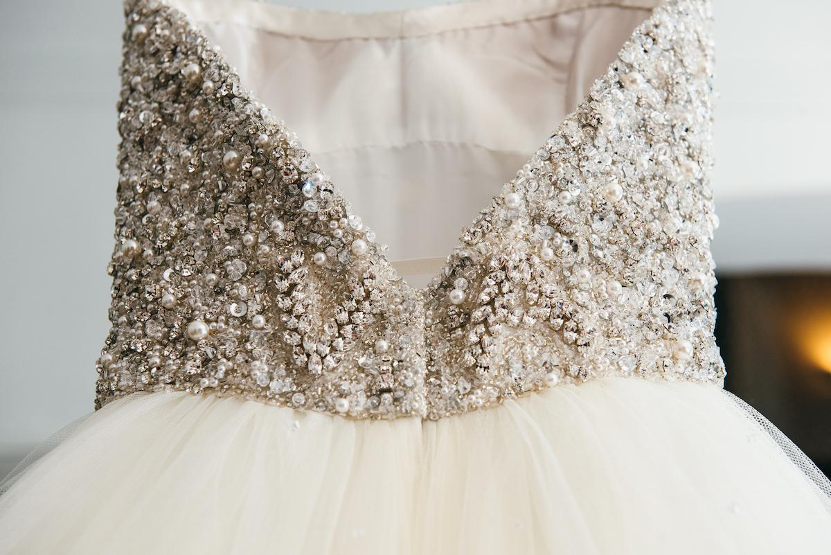 Bespoke bridal wear with personal details by wedding dress designer Phillipa Lepley London